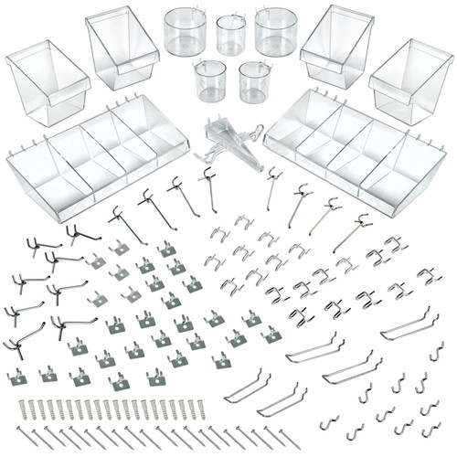 120-Piece Large Pegboard Organizer Accessory Kit, Hooks Assortment for Tools and Storage System. Hardware Hooks and Bins.  Organize Tools, Craft, Kitchen, Garage