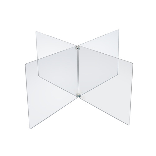 """Clear Acrylic 4-Way Divider Shield for Table, Crossed Plastic Barrier Multi-Section 4 Person Divider Desk Barrier, Plexiglass Sneeze Guard Protector, Overall Size: 40.5"""" wide x 20"""" high"""