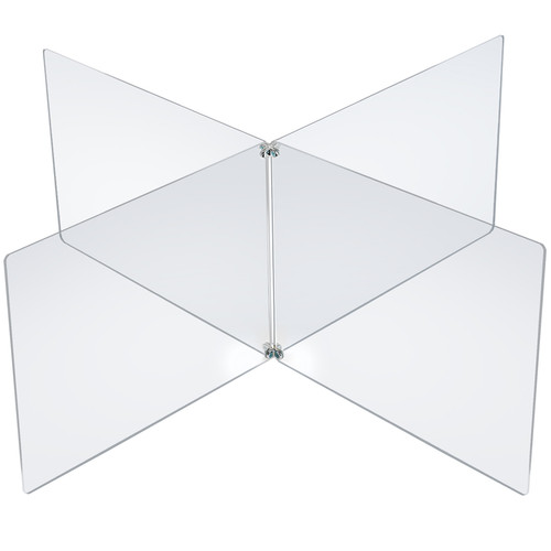 """Clear Acrylic 4-Way Divider Shield for Table, Crossed Plastic Barrier Multi-Section 4 Person Divider Desk Barrier, Plexiglass Sneeze Guard Protector, Overall Size: 63.5"""" wide x 23.5"""" high"""