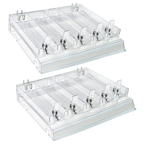 Azar Displays 225830-SHORT-CLR Adjustable Short Divider Bin Cosmetic Tray with Pushers - Customize Slot Size to Product, Clear- 2-Pack