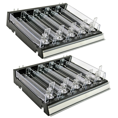 Azar Displays 225830-SHORT-BLK Adjustable Short Divider Bin Cosmetic Tray with Pushers - Customize Slot Size to Product, Black- 2-Pack