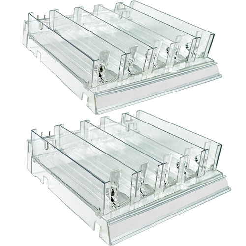 Azar Displays 225830-TALL-CLR Adjustable Tall Divider Bin Cosmetic Tray with Pushers - Customize Slot Size to Product, Clear- 2-Pack