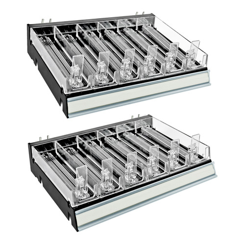 Black 6 Compartment Divider Bin Cosmetic Tray with Pushers - 6 Slots per Tray, Set of 2