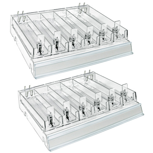 Clear 6 Compartment Divider Bin Cosmetic Tray with Pushers - 6 Slots per Tray, Set of 2