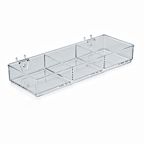 """3-Compartment Storage Tray 12.75"""" W x 4.5"""" D x 1.75"""" H with attached Hooks for Pegboard or Slatwall"""