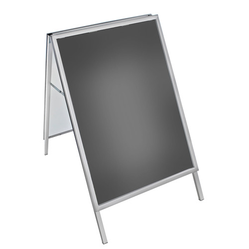"""Large Silver Snap Open A-Frame Double-Sided Indoor/Outdoor Sidewalk Stand 30""""W X 40""""H"""