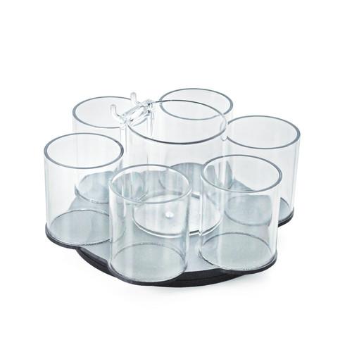 CLOSEOUT: 6 Cup  Counter Cosmetic Organizer w/ Cottonball Dispenser
