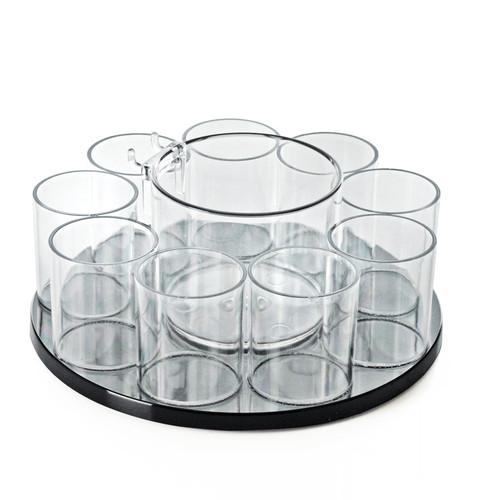 CLOSEOUT: 9 Cup Counter Cosmetic Organizer w/ Cottonball Dispenser