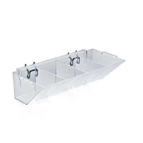"""4-Compartment Storage Tray 10.5"""" W x 5"""" D x 3"""" H with 2 U-Hooks for Pegboard, Slatwall or Counter"""
