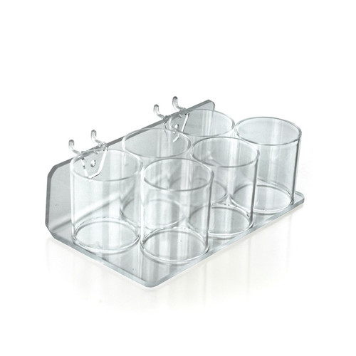 Clear Acrylic Six Cup Holder for Pencils, Pens, or Brushes, Cosmetic Pen Cup Display Organizer, for Pegboard and Slatwall.