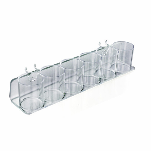 Clear Acrylic Six in a Row Cup Holder for Pencils, Pens, or Brushes, Cosmetic Pen Cup Display Organizer, for Pegboard and Slatwall.