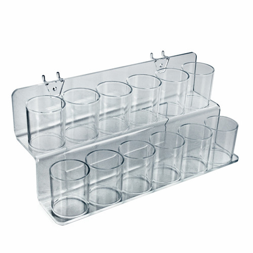 Clear Acrylic Two-Tier Twelve Cup Holder for Pencils, Pens, or Brushes, Cosmetic Pen Cup Display Organizer, for Pegboard and Slatwall.
