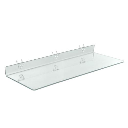 "24""W x 8""D Clear Acrylic Shelf for Pegboard and Slatwall"
