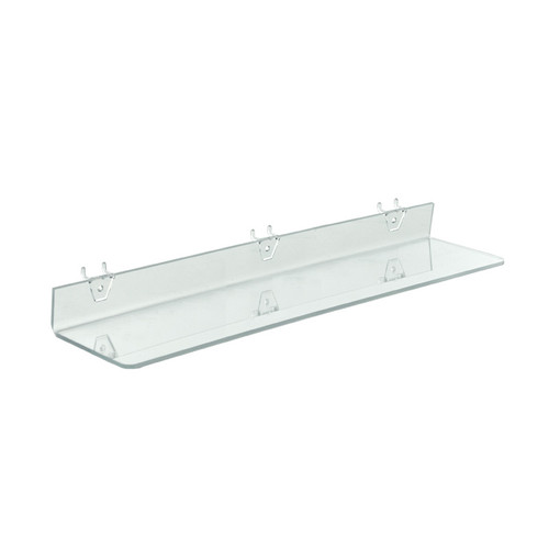 "24""W x 4""D Clear Acrylic Shelf for Pegboard and Slatwall"