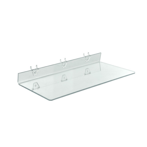 "20""W x 8""D Clear Acrylic Shelf for Pegboard and Slatwall"