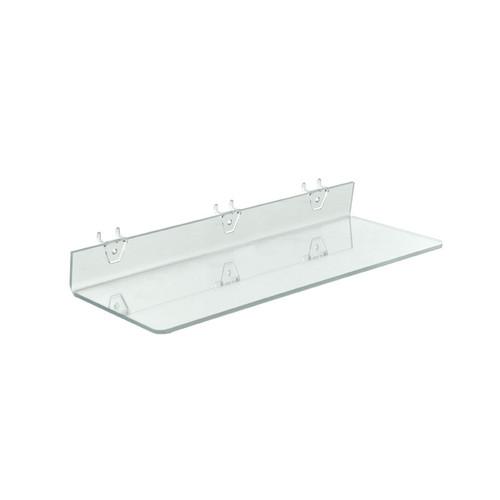 "20""W x 6""D Clear Acrylic Shelf for Pegboard and Slatwall"