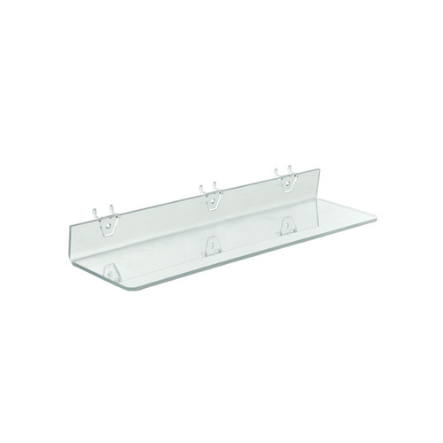 "20""W x 4""D Clear Acrylic Shelf for Pegboard and Slatwall"