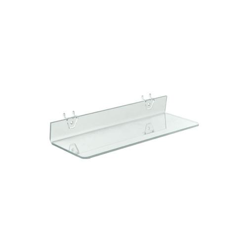 "16""W x 4""D Clear Acrylic Shelf for Pegboard and Slatwall"