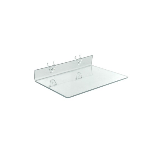 "13.5""W x 8""D Clear Acrylic Shelf for Pegboard or Slatwall"