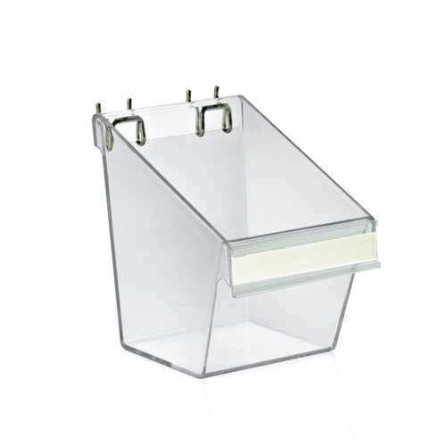 "Small Clear Plastic Molded Bucket, Storage Cotainer Bin for Pegboard, Slatwall, or Counter with Label Holder on Front and 2 Metal U-Hooks, Size: 5""W x 6""D x 7""H, 4-Pack"