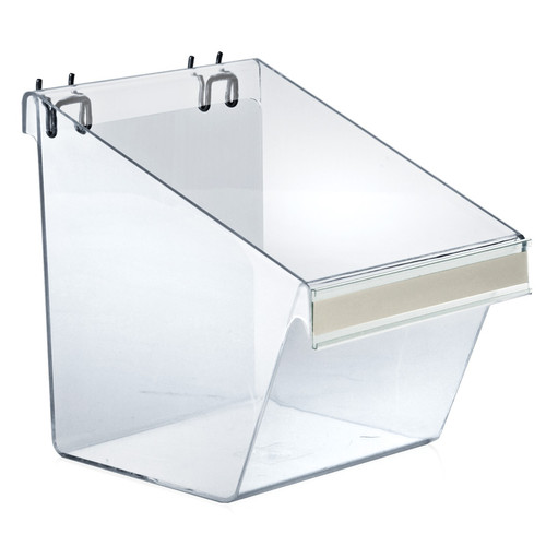 "Large Clear Plastic Molded Bucket, Storage Container Bin for Pegboard, Slatwall, or Counter with Label Holder on Front and 2 Metal U-Hooks, Size: 8""W x 6""D x 9""H, 4-Pack"