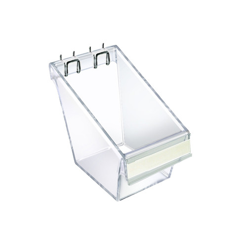 "Mini Clear Plastic Molded Bucket, Storage Cotainer Bin for Pegboard, Slatwall, or Counter with Label Holder on Front and 2 Metal U-Hooks, Size: 4"" W x 4.25"" D x 4.5""H ,4-Pack"