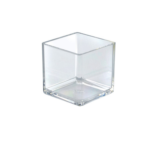 """4""""  Deluxe Clear Acrylic Square Cube Bin for Counter, 4-Pack"""