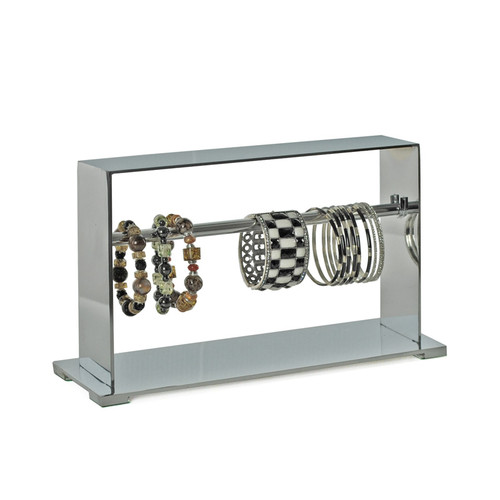 """CLOSEOUT: Single-Row Chrome Bracelet Counter Display. Overall Measurements: 8.125""""H x 13.25""""W"""