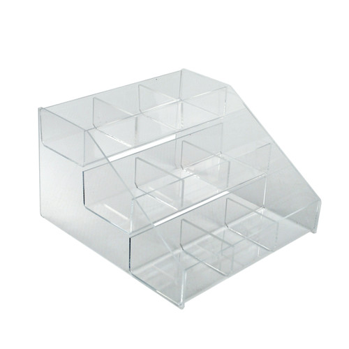 """Three-Tier, 9 Compartment Counter Step Display: 12""""W x 11.75""""D x 7""""H"""