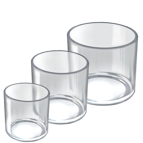 """4"""", 5"""", 6"""" Dia. Deluxe Clear Acrylic Cylinder Bin Set for Counter"""