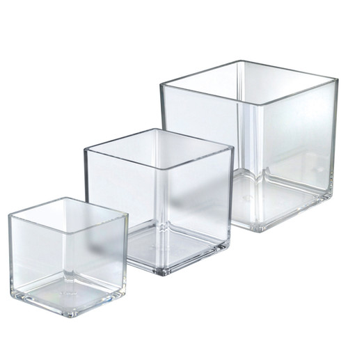 """4"""", 5"""", 6"""" Deluxe Clear Acrylic Square Cube Bin Set for Counter"""