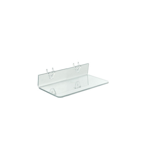 "CLOSEOUT: Clear Acrylic 10.5"" Shelf for Pegboard/Slatwall"