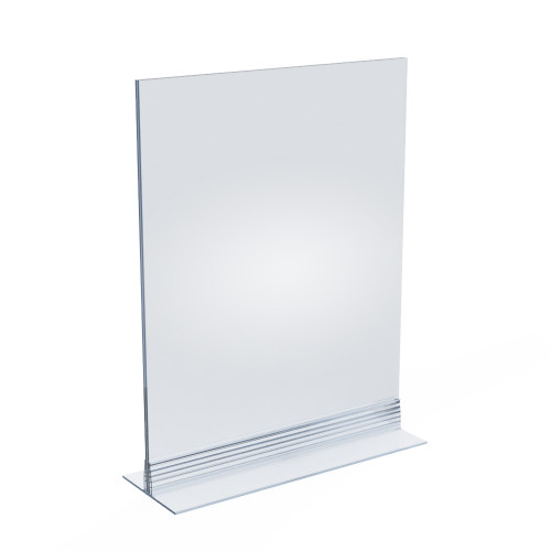 """Clear Acrylic Double Sided Sign Holder 8.5""""  x 11""""  Vertical/Horizontal with T Strip"""