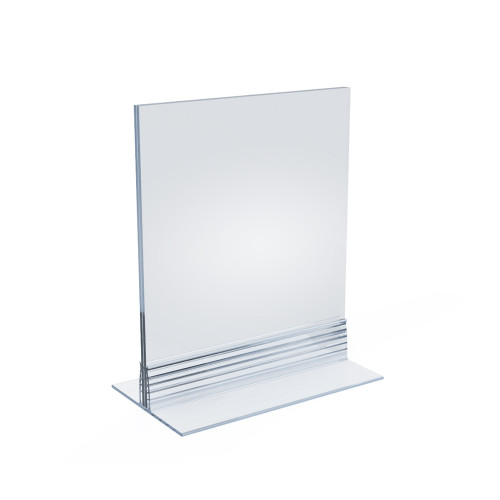 """Clear Acrylic Double Sided Sign Holder 5"""" x 7"""" Vertical/Horizontal with T Strip"""
