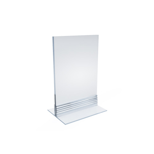 """Clear Acrylic Double Sided Sign Holder 4"""" x 6"""" Vertical/Horizontal with T Strip"""