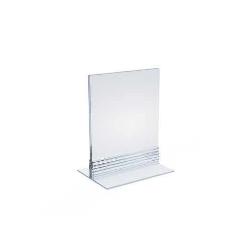 """Clear Acrylic Double Sided Sign Holder 4"""" x 5"""" Vertical/Horizontal with T Strip"""