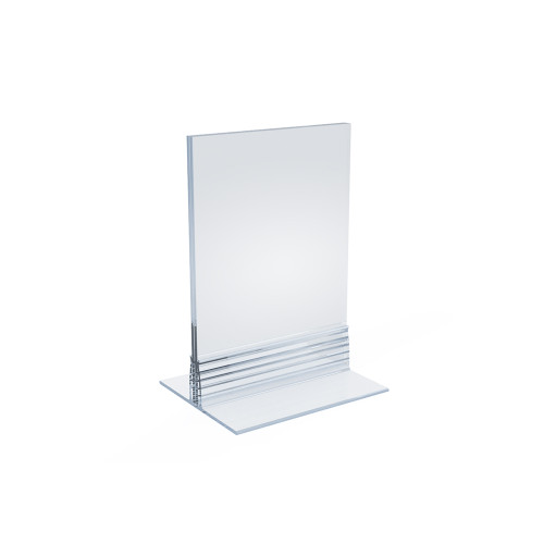 """Clear Acrylic Double Sided Sign Holder 3.5"""" x 5""""  Vertical/Horizontal with T Strip"""