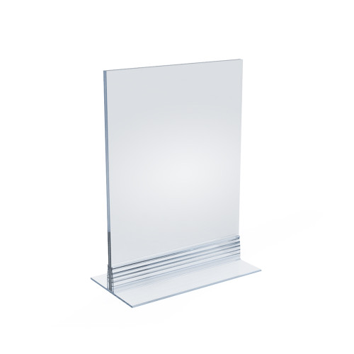 """Clear Acrylic Double Sided Sign Holder 5.5"""" x 8.5"""" Vertical/Horizontal with T Strip"""