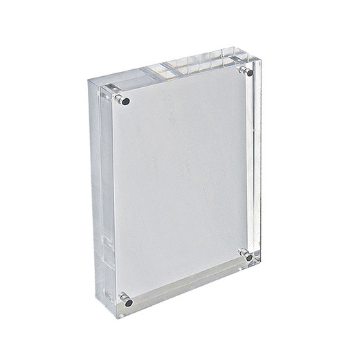 """Clear Acrylic Magnetic Photo Frame Block  8.5"""" x 5.5"""" Vertical/Horizontal"""