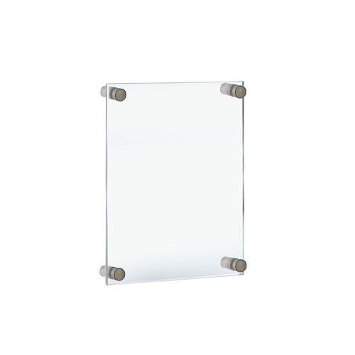 """Floating Acrylic Wall Frame with Silver Stand Off Caps: 8.5"""" x 14"""" Graphic Size. Overall Frame Size: 12.5"""" x 18"""""""