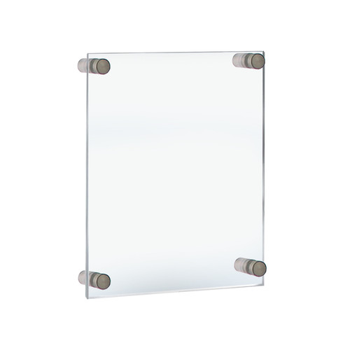 """Floating Acrylic Wall Frame with Silver Stand Off Caps: 11"""" x 17"""" Graphic Size. Overall Frame Size: 15"""" x 21"""""""