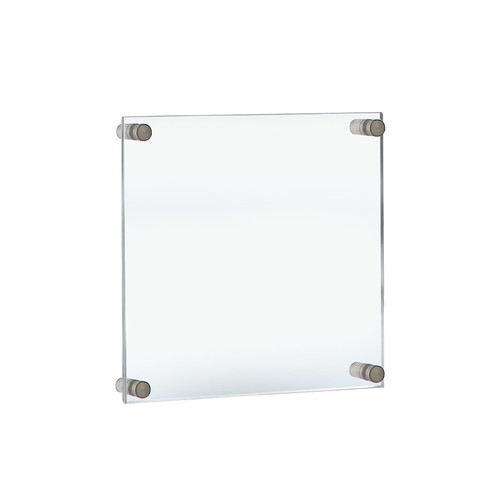 """Floating Acrylic Wall Frame with Silver Stand Off Caps: 11"""" x 14""""  Graphic Size.  Overall Frame Size: 15"""" x 18"""""""
