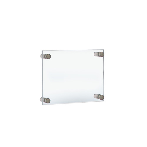"""Floating Acrylic Wall Frame with Silver Stand Off Caps: 8.5"""" x 5.5"""" Graphic Size. Overall Frame Size: 12.5"""" x 9.5"""""""