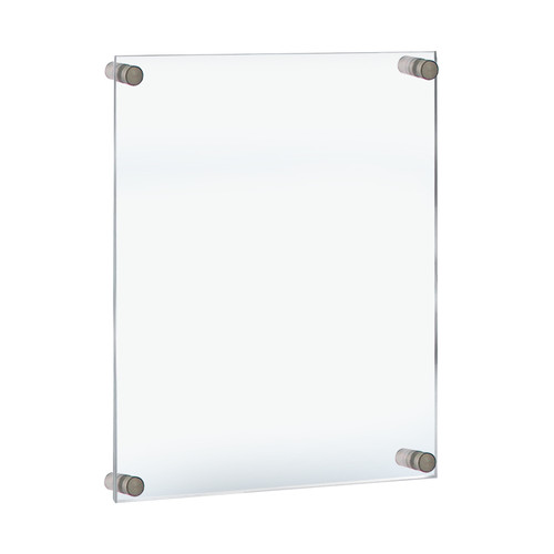 """Floating Acrylic Wall Frame with Silver Stand Off Caps: 18"""" x 24"""" Graphic Size. Overall Frame Size: 22"""" x 28"""""""