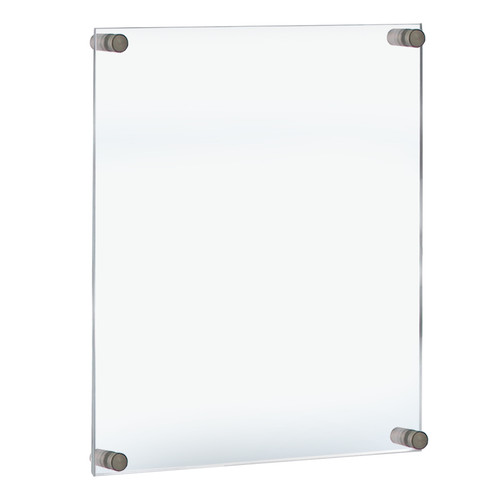 """Floating Acrylic Wall Frame with Silver Stand Off Caps: 17"""" X 22""""  Graphic Size. Overall Frame Size: 21"""" X 26"""""""
