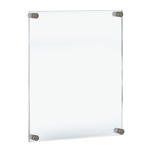 """Floating Acrylic Wall Frame with Silver Stand Off Caps: 22"""" x 28"""" Graphic Size.  Overall Frame Size:  26"""" x 32"""""""