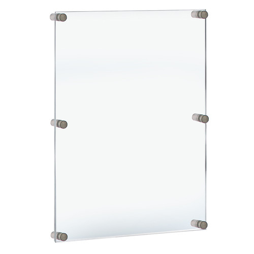 """Floating Acrylic Wall Frame with Silver Stand Off Caps: 24"""" x 36"""" Graphic Size. Overall Frame Size: 28"""" x 40"""""""