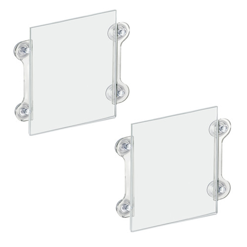 Clear Acrylic Window/Door Sign Holder Frame with Suction Cups 8.5''W x 11''H , 2-Pack