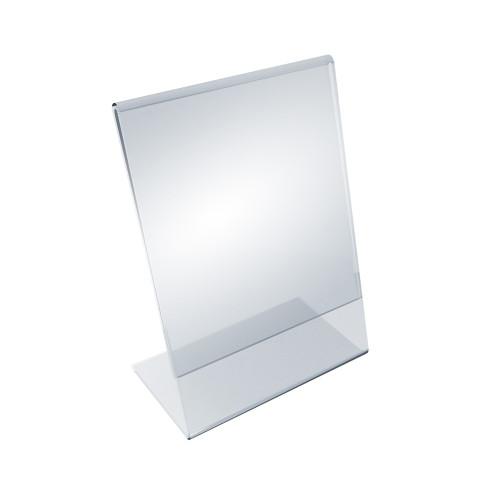 """Angled L-Shaped Sign Holder Frame with Slant Back Design 5.5""""x 8.5''High- Vertical/Portrait, 10-Pack"""