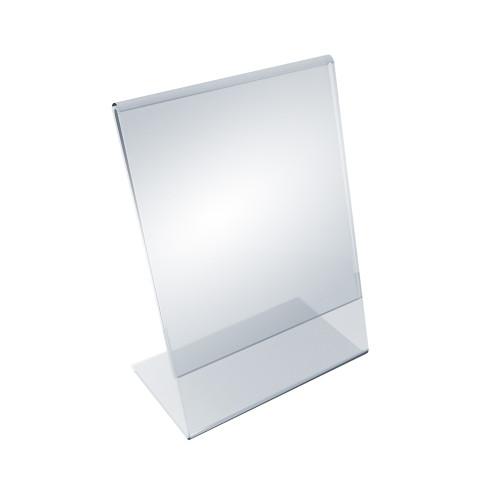 """Angled L-Shaped Sign Holder Frame with Slant Back Design 5""""x 7''High- Vertical/Portrait, 10-Pack"""